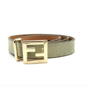 Green Lizard Skin Leather On Gold Size 80 32 Belt